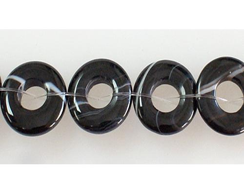 Collar de ágata negra bandeada en donut