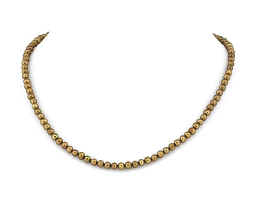 Collar de perla esférica marrón