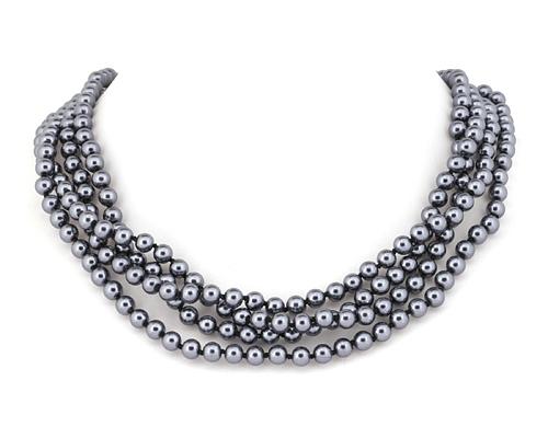 Collar de 2Mt. de Perla Shell con nudo entre cada bola de 6mm