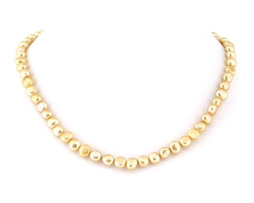 Collar de perlas patata doradas