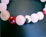 Pulsera de Cuarzo rosa, Coral bambú facetado y Plata