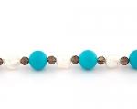 Collar de Cuarzo ahumado, Perlas cultivadas, Turquesa de 14mm. y Plata 925ml.