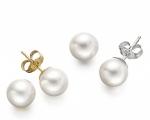 Perlas Australianas esféricas 11,5mm. Pendientes en oro blanco o amarillo 18 ktes