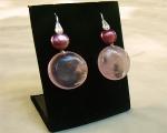 Pendientes de Cuarzo Rosa español, Perla cultivada y plata