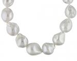 Collar de perla esférica-barroca blanca