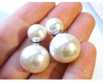 Presiones de perlas 9mm. redondas. Blancas. Montadas en plata