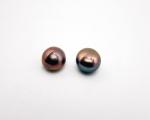 Pendientes de Perla AAA botón color chocolate 10mm.