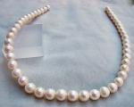 Collar de perla semi esférica blancas