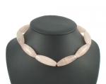 Collar de cuarzo rosa cilindro oval