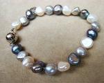 Pulsera de Perla cultivada 8-10mm. en tonos grises