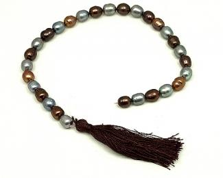 Collar de perlas ovales multicolor