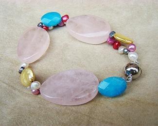 Pulsera de Amazonita, Cuarzo rosa y Perlas cultivadas