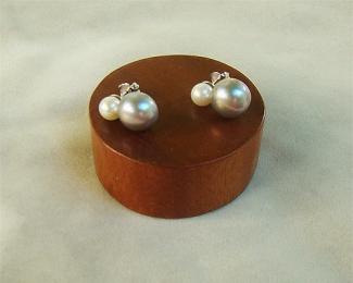 Pendientes dobles de Perla cultivada y Plata