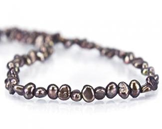 Collar de perlas patatita grises