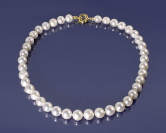 Collar de Perla esférica AAA con reasón de Oro 12mm.