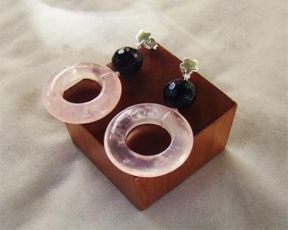 Pendientes de Cuarzo Rosa español, Onice y plata