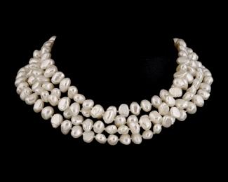 Collar extra largo de perla patata blanca