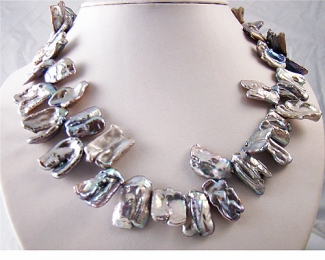 Collar de perlas Biwa Gris plata
