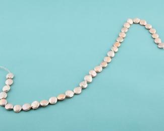 Collar de perlas Coin rosa