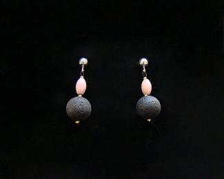 Pendientes de Piedra Volcánica, Coral rosa y Plata