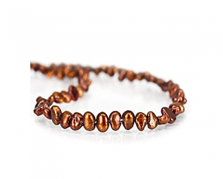 Collar de perlas patatita en color cobre