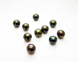 Perla esférica 14mm. Gris verdoso