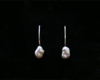 Pendientes de Perla barroca y Plata