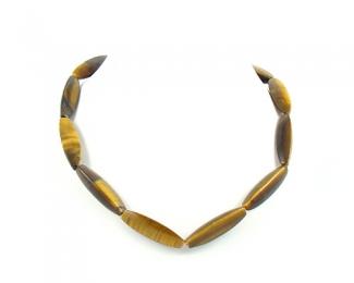 Collar de Ojo de tigre en cilindro con 3 caras
