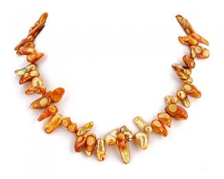 Perlas Blister dorada grande.  -  Tira (hilo) de 40cm.