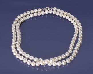 Collar sencillo de Perla 9-10mm.con reasón de plata 12mm.