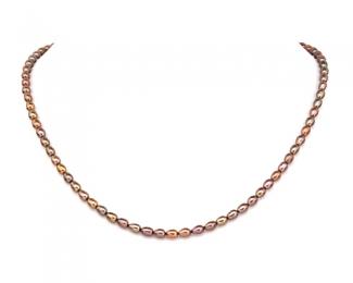 Collar de perlas ovales. Chocolate