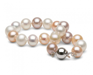 Pulsera de perla multicolor 9-10mm.