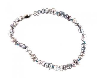 Collar Perlas AAA barrocas, Turquesa Howlita y Plata 925ml.