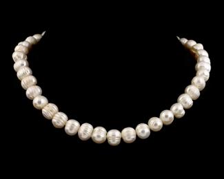 Collar de perla irregular blanca
