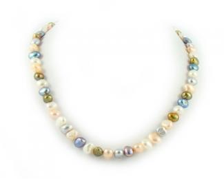 Collar de perlas patata multicolores