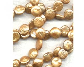 Collar de perlas Coin. Doradas