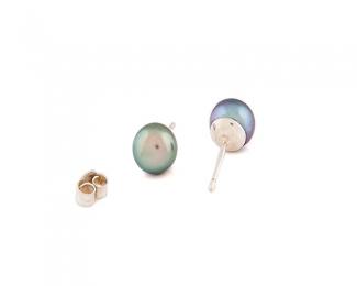 Pendientes de Perla AAA esférica gris 9mm. Con plata 925ml.