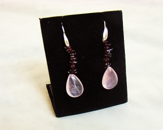 Pendientes de Cuarzo Rosa español, Granate y plata