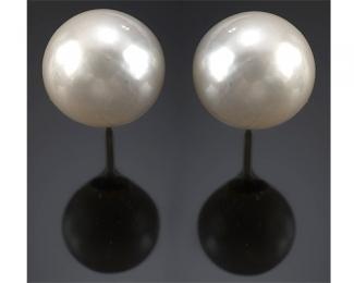 Perlas Australianas esféricas 13mm. Pendientes en oro blanco o amarillo 18 ktes