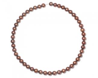 Collar de perlas esféricas color caramelo