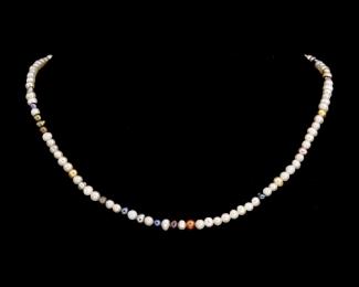 Collar de perlas semi esféricas multicolores