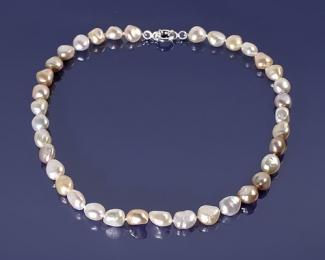 Collar de Perla AAA barroca multicolor con reasón 12mm. en plata 925ml.