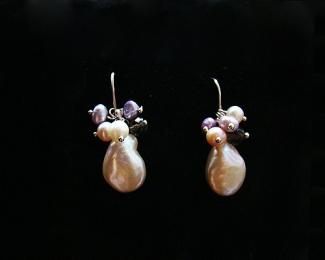 Pendientes de Perlas, cuarzo ahumado y plata