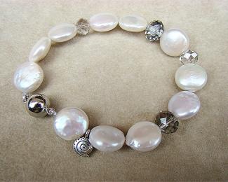 Pulsera de Perlas, Cristal y cierre de acero imantado