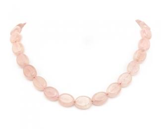 Collar de cuarzo rosa oval