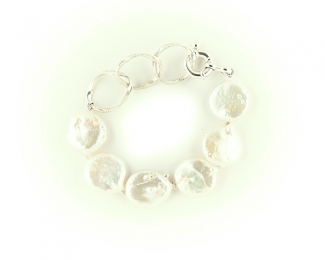 Pulseras de Perlas disco 17-20mm. y Plata de 925ml.