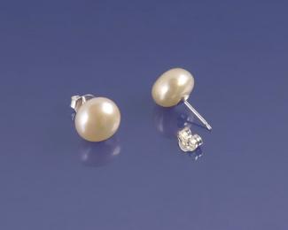 Pendientes en Perla AAA botón rosa 11mm. aprox. Con Oro blanco