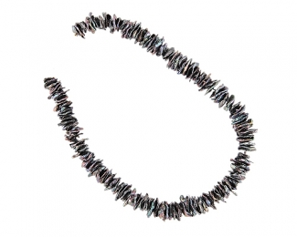 Collar de perlas Biwa grises